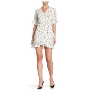 1.State Short Sleeve Floral Print Flounce Dress